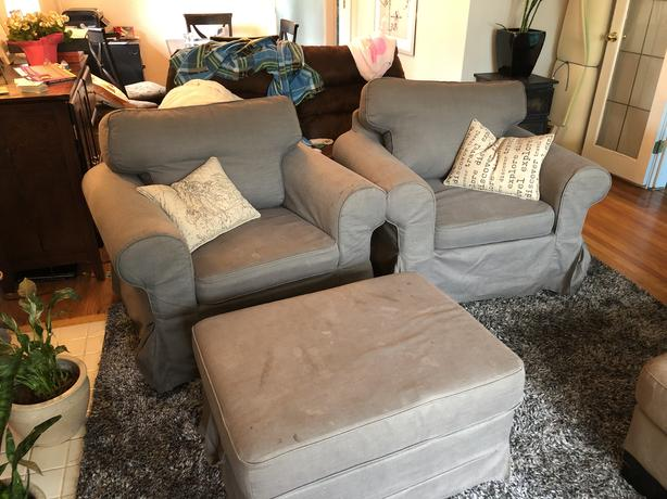 FREE set of chairs and ottoman.