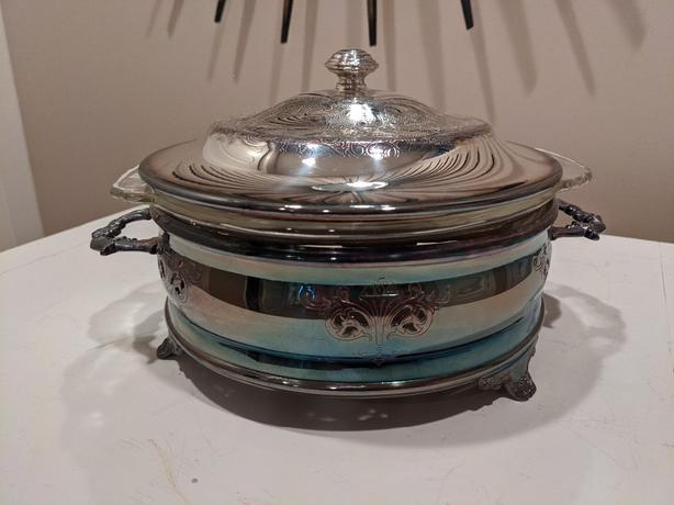 Pretty Silver Plated Serving Dish with Removable  Glass Dish