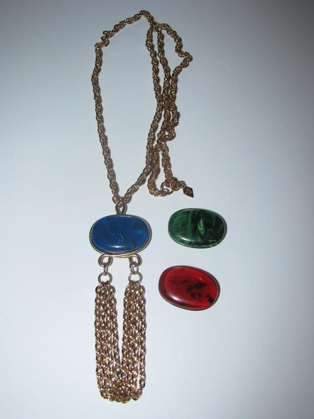 Vntg Coventry Canada Three Timer Chain Necklace Interchangeable Cabochon Insets