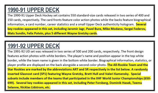 UPPER DECK HOCKEY SETS - COMPLETE