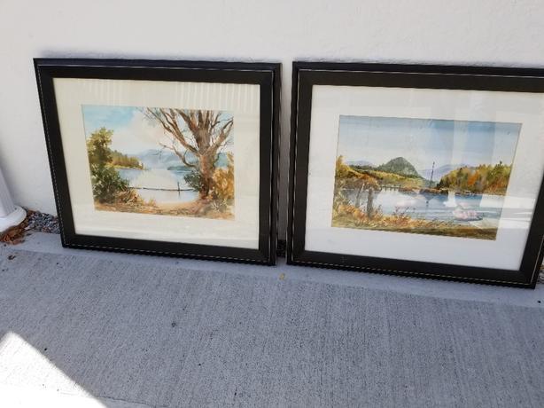 Pair of landscape / lake scene paintings