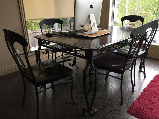 Wrought Iron Maple Kitchen table & 8 Chairs