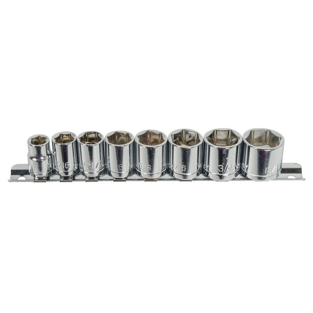 "3/8"" Drive 6-Point SAE Socket Set with Clip Rail (8-Piece)"