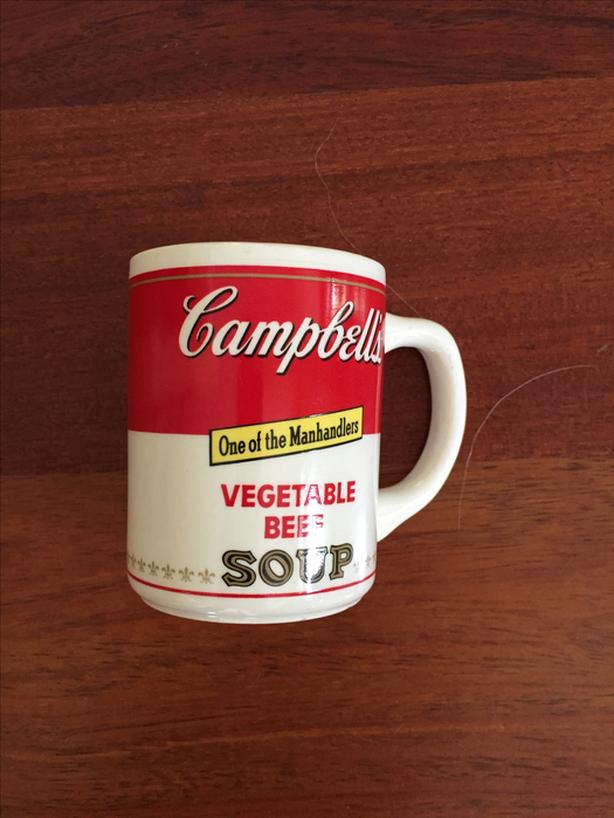 """VINTAGE 60'S CAMPBELL'S SOUP MUG-VEGETABLE BEEF-""""ONE OF THE MANHANDLERS"""""""