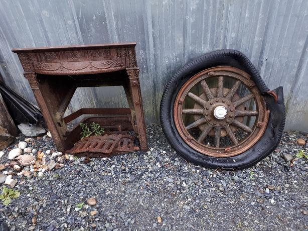 lawn Ornaments, Ceramic  pots, Old wagon rims