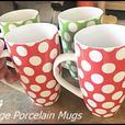 Set of 4 Large Porcelain Mugs $10
