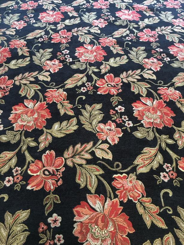 Black & gold  floral upholstery fabric