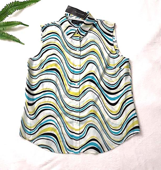 JONES NEW YORK Women Blouse Top Sleeveless White Blue Green, 10