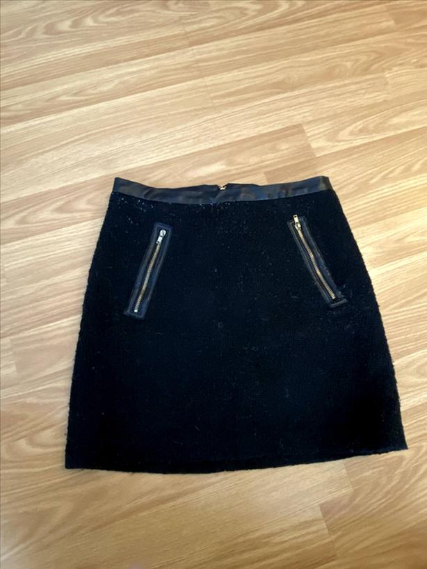 Black Zipper Short Skirt (0094)