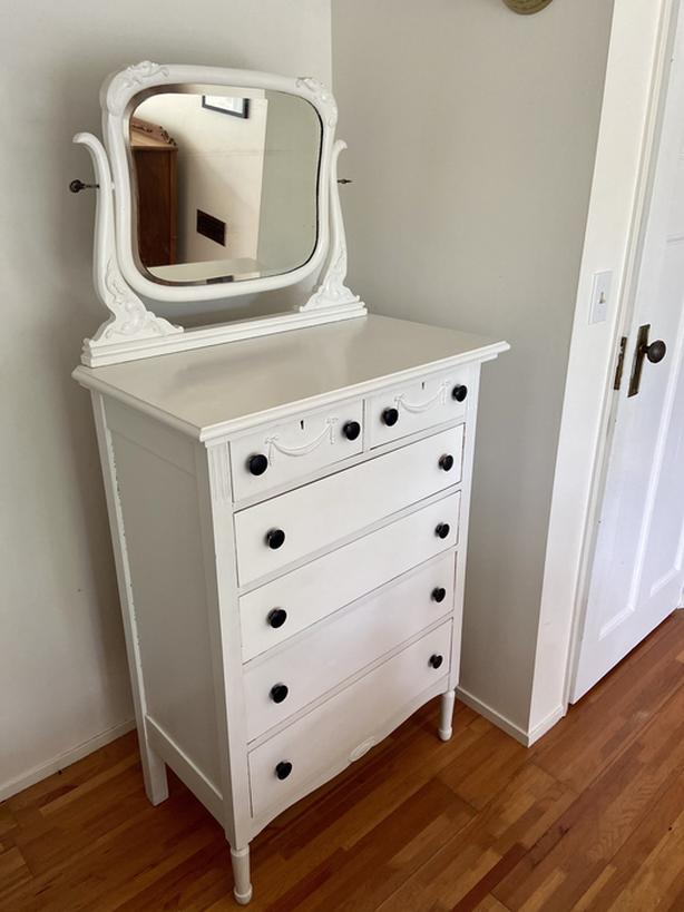 Antique wood tall boy dresser with mirror top