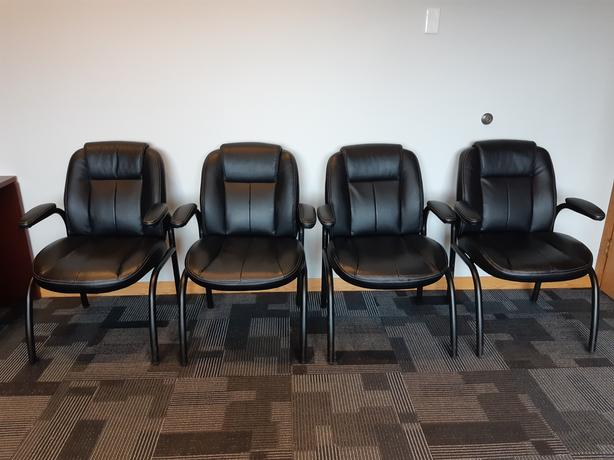 Black leather office / conference room chairs