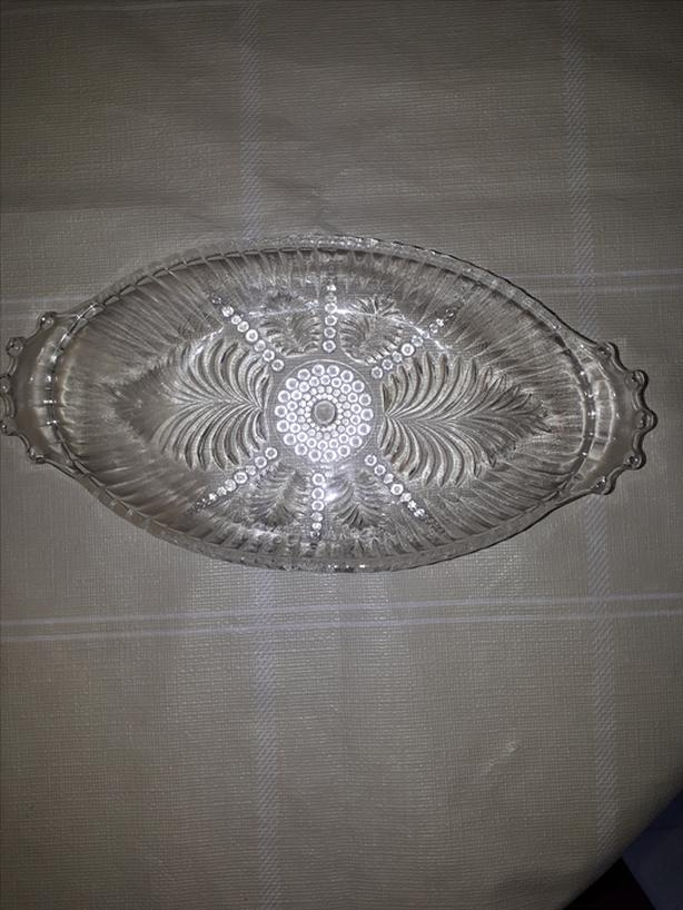 Vintage Clear Pressed Glass Oval Relish/Candy/Nut Dish W/Handles