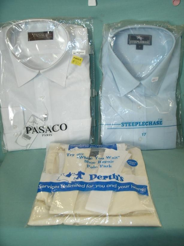 (3) New Shirts - White Shirt, Blue Shirt, Vintage Shirt etc