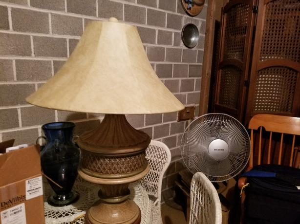 Two solid tan lamps