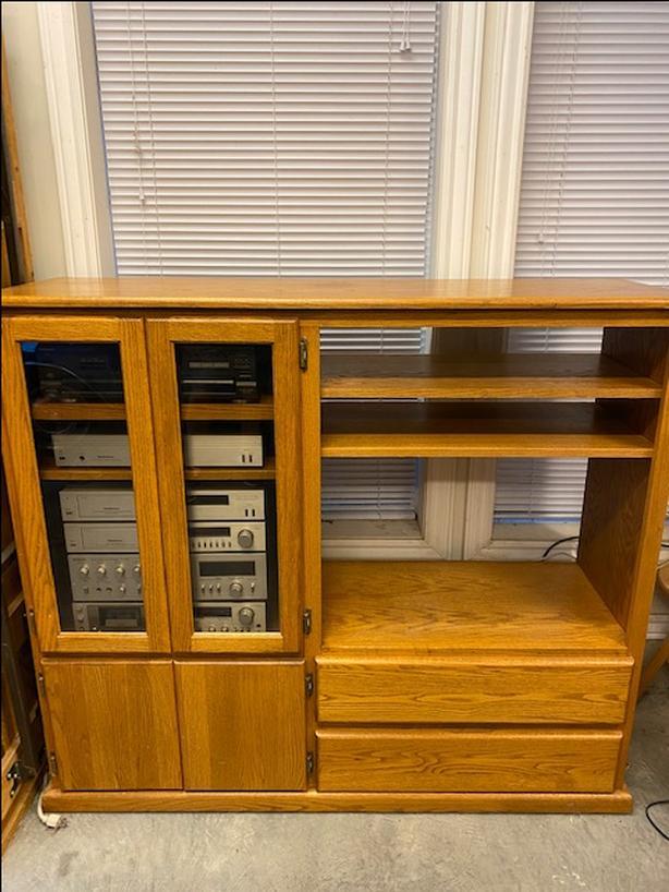 Solid Oak Entertainment Cabinet