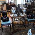 Hand Carved Asian Table with Ten Chairs and Three Extentions