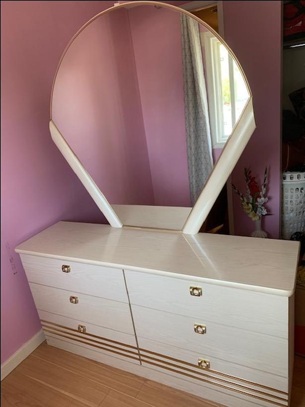 Beautiful Cream and Gold Bedroom Set