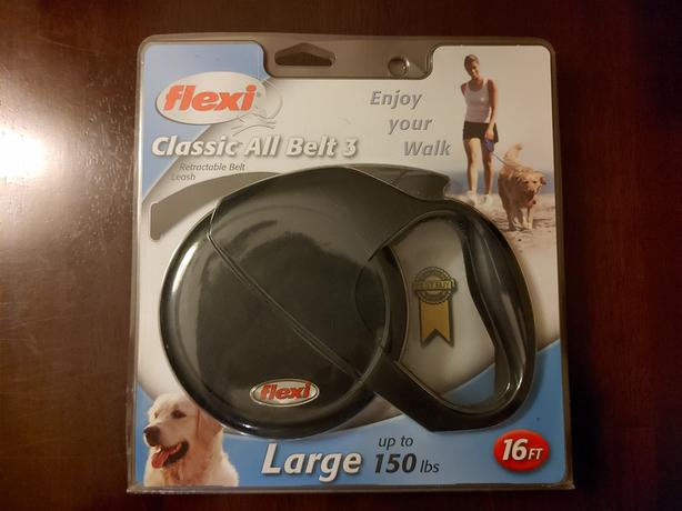 Brand New Flexi Large Retractable 16 Feet Classic All Belt 3 Leash Black