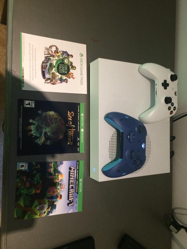 Xbox One S Digital with games and 2 controllers