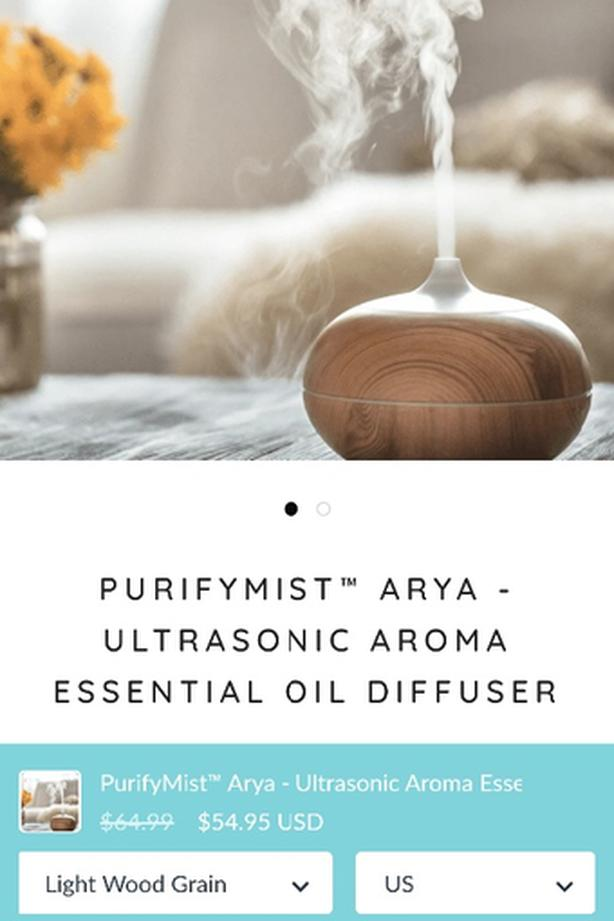 aroma diffuser cool mist with changing light