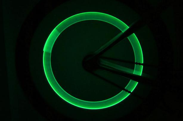 Bicycle Bike Wheel Tire Valve Cap LED Light - Green Light (Set of 2)