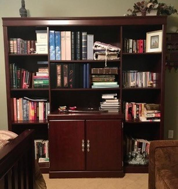 Library Bookcase -Adjustable deluxe book shelves with additional storage