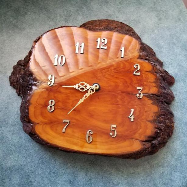 Handcrafted Burl Clock