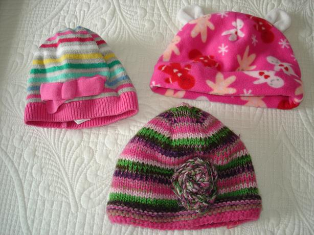 VGUC - 6-12 mo. baby girl warm winter hats