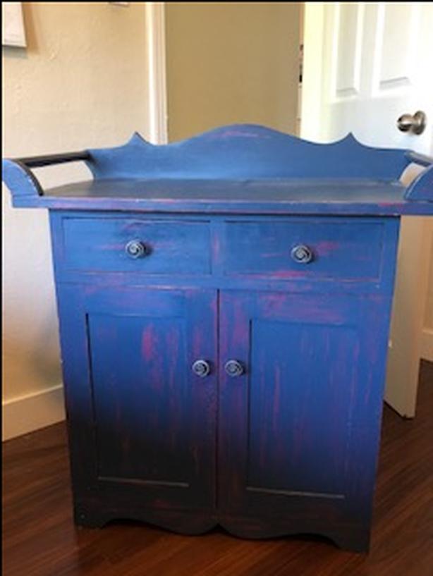 Vintage Shabby Chic Washstand Cupboard w/ shelf