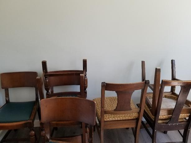 wood table with 8 chairs