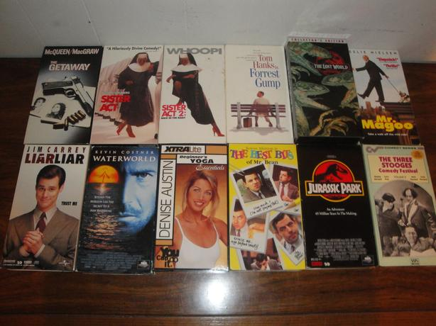 for 2 VHS Movies (15 in stock: Forrest Gump, Liar Liar, Jurassic Park, etc)