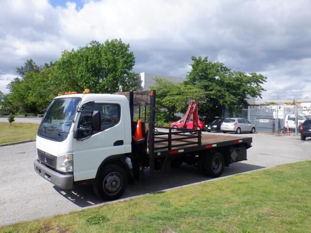 2008 Mitsubishi Fuso FE 180 Flat Deck 14 foot Diesel with Crane