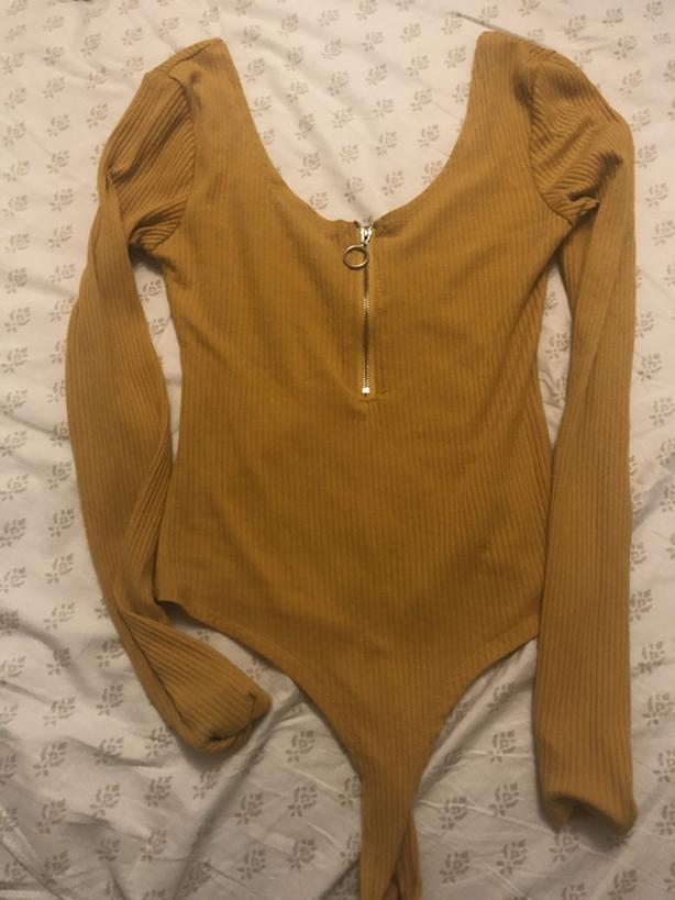 Mustard Long Sleeve Bodysuit Medium Top
