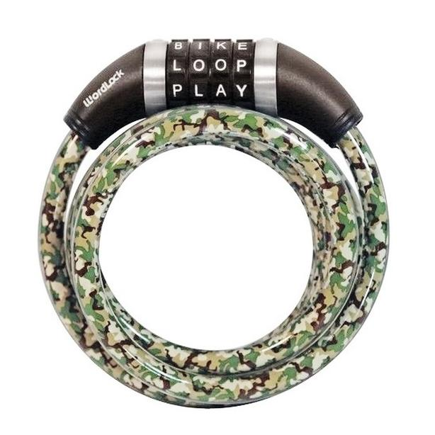 WORDLOCK Bicycle Bike Coil Resettable Word Cable Lock - 5' x 10mm - Camouflage