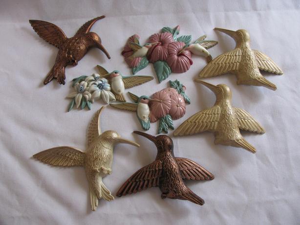 Hummingbird Figural Wall Plaque Sets Coppercraft & Burwood Products 8PC