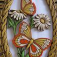 Coppercraft Oval Wall Plaque Butterflies Basket Weave Frame