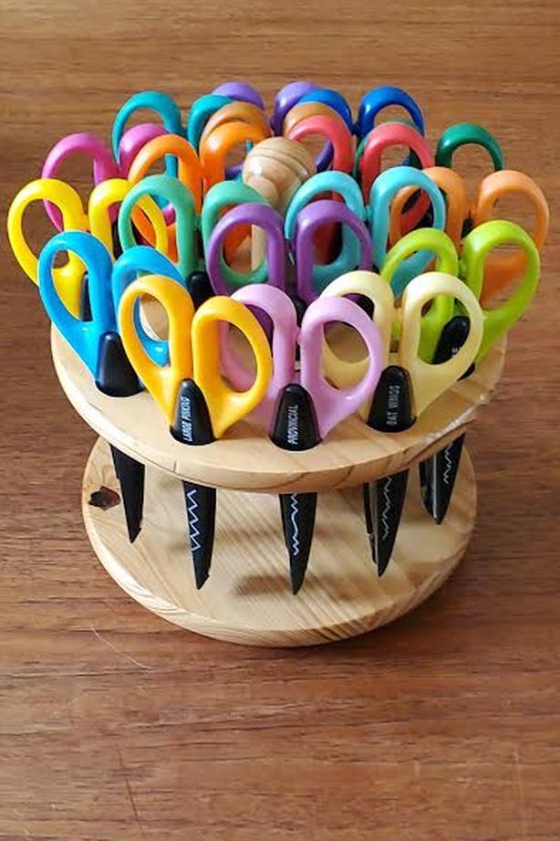 Craft scissors set on wood carousel