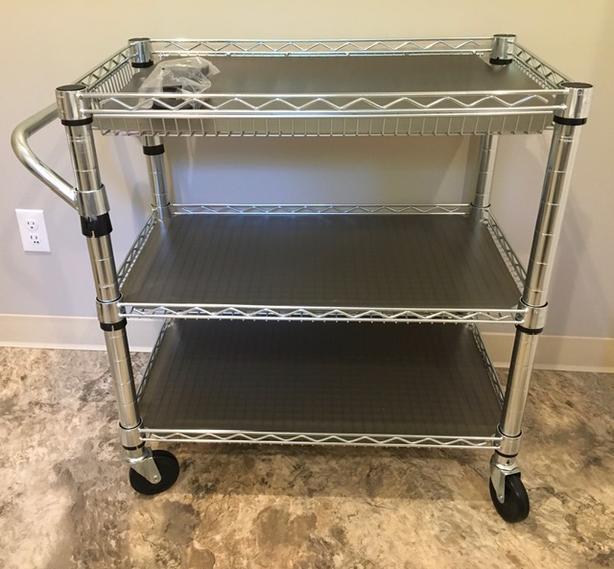 2x Silver Metal 3 Shelf, Rolling Cart $100 - each OBO
