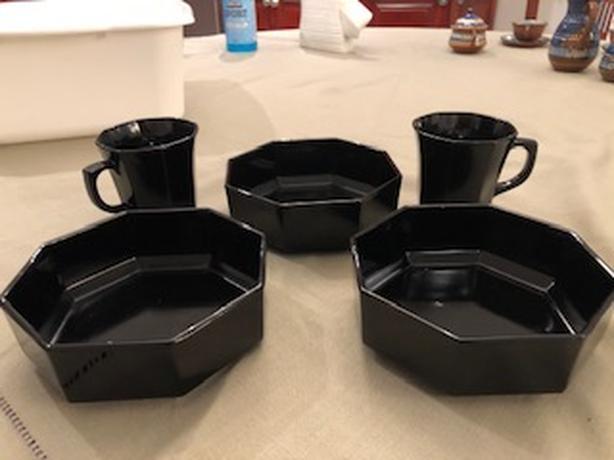 Arcoroc France Black Octagonal dinnerware