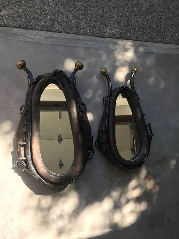 Horse collars with mirror inserts.