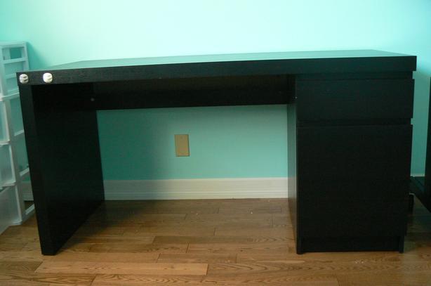 3 Drawer Black Desk
