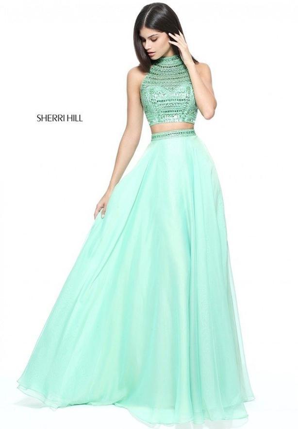 Sherri Hill Light Green Evening Gown Dress in Size 10