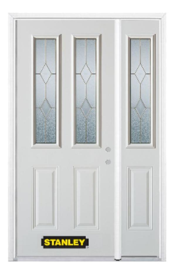 USED METAL FRONT ENTRY DOOR WITH SIDELITE