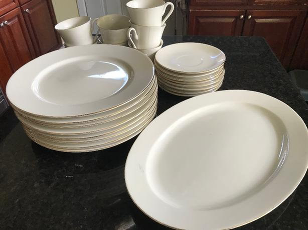 Plates, oval serving plate, cup & saucer