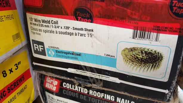 """3 boxes of 15 Degree weld Coil 1 /34"""" X .120"""" Roofing Nails"""