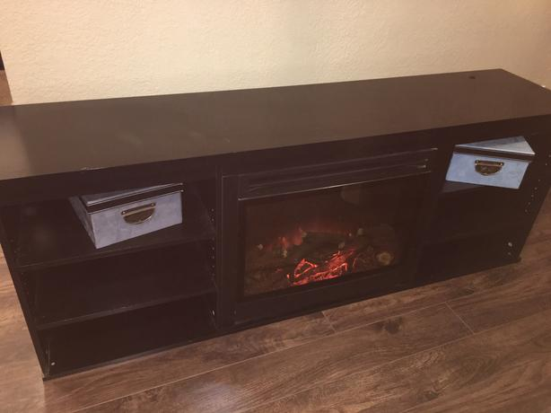Electric Fireplace and Storage Unit