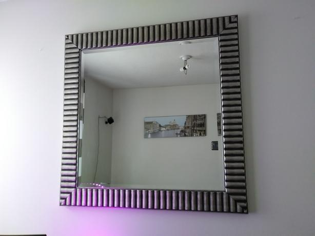 Silver and Black Striped Mirror