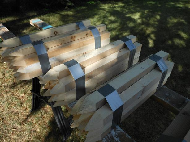 Wooden stakes, 2 x 2 inches, see description for lengths