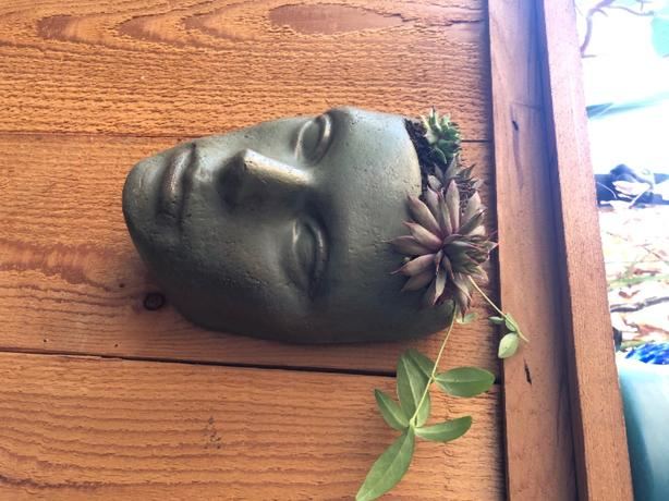 aged look cement planter head