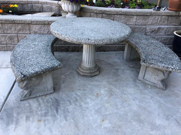 Cement pedestal table & 2 benches